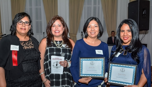 From left to right: Victoria Cruz-Garcia, Founding THBA Member Lourdes Bernal Dixon, and 2016 Cruz-Garcia Scholarship recipients, Barbara Perez and Pamela Cordova.